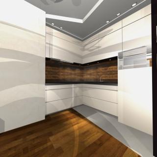 Projekt kuchni metal i drewno
