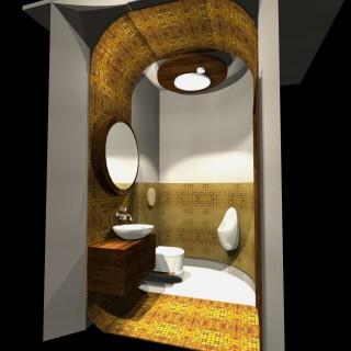 mozaika łazienka złota