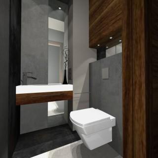 projekt łazienki nowoczesnej w drewnie