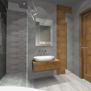 łazienka w drewnie projekt