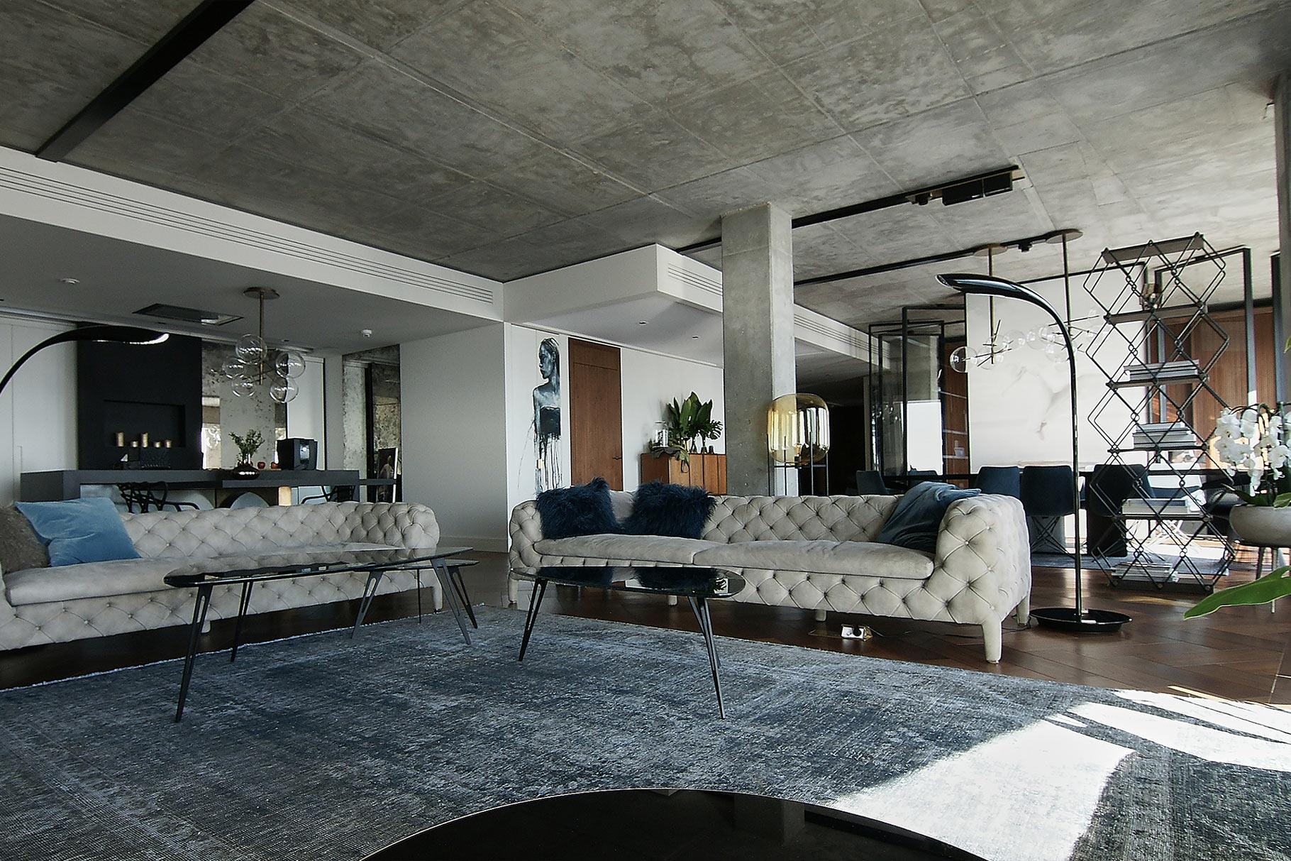 Projekt wnętrza salonu Apartament Złota 44